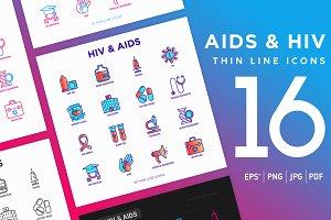 AIDS & HIV | 16 Thin Line Icons Set