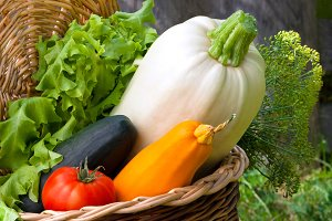Autumn vegetables are in a small bas
