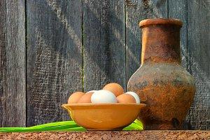 Dish with fresh eggs