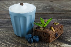 Brownie with fruits and coffee