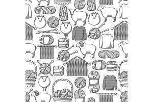 Seamless pattern with wool items