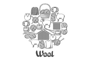 Background with wool items. Goods