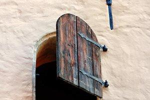 Open  old wooden window