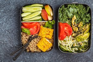 Healthy vegan meal prep containers