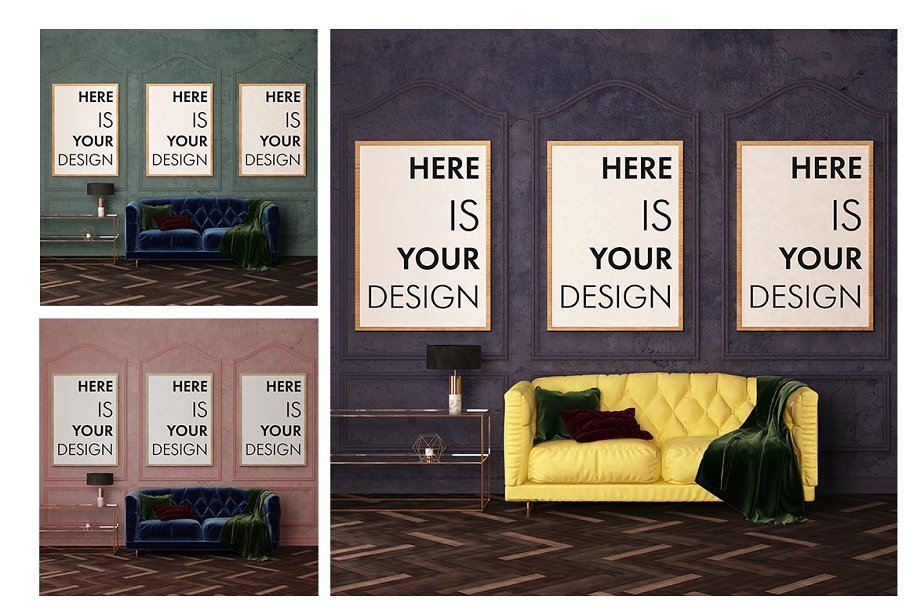 Mock up poster in classic interior