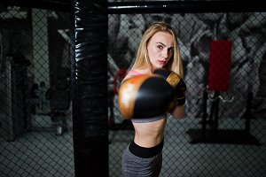 Sexy sport blonde girl boxer posed i