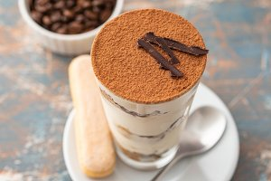 Tiramisu in a glass with coffee