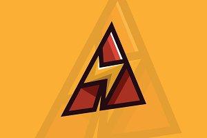 Letter A Bolt Logo Template