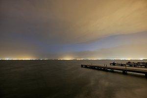 Albufera lake docks at sunset