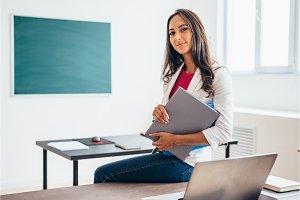 Portrait of female college teacher