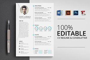 Clean CV Resume Word Design