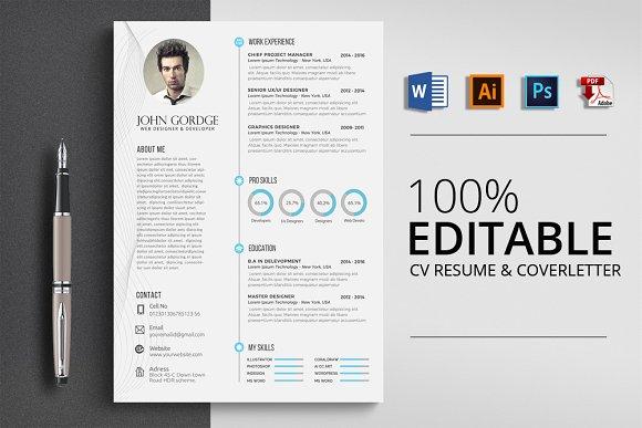 Clean CV Resume Word Design