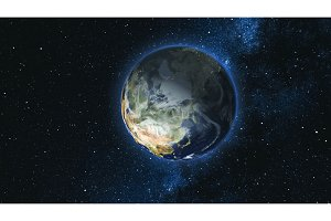 Realistic Earth Planet against the