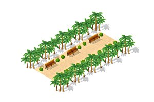 Isometric 3d park with a green