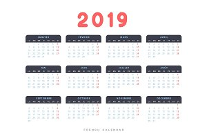French calendar for 2019 years