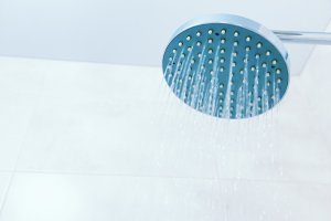 Close up of shower head in the bathr