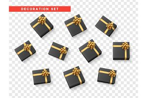Set gift box black, present