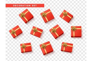 Set gift box red, present