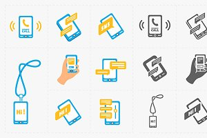 Modern smartphone icons