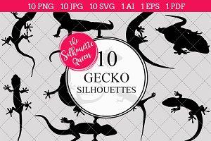 Gecko Silhouette Clipart Vector