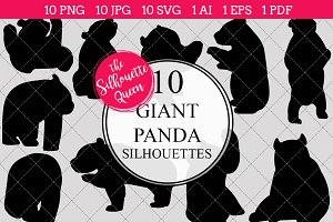 Giant Panda Silhouette Clipart Vecto
