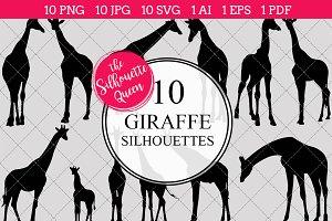 Giraffe Silhouette Clipart Vector