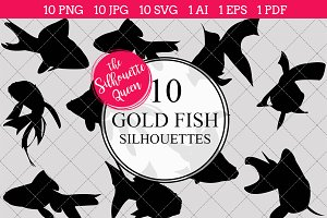Gold Fish Silhouette Clipart Vector