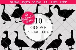 Goose Silhouette Clipart Vector
