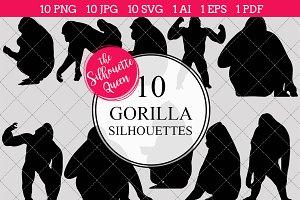Gorilla Monkey Silhouette Clipart