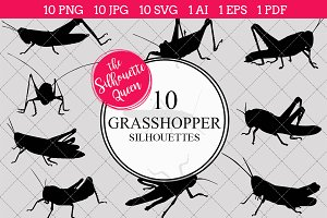 Grasshopper insect Silhouette Vector
