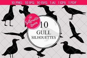 Sea Gull Bird Silhouette Clipart