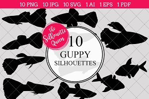 Guppy Fish Silhouette Clipart Vector