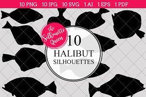 Halibut Fish Silhouette Clipart