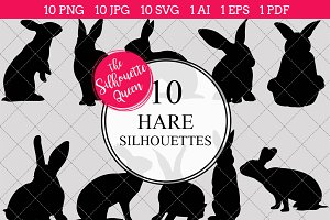Hare Silhouette Clipart Vector