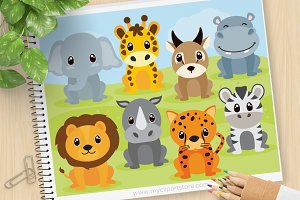 African Safari Animals Clipart, SVG