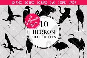 Heron bird Silhouette Clipart