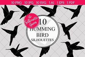 Humming bird Silhouette Clipart