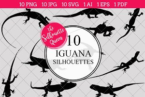 Iguana Silhouette Clipart Vector