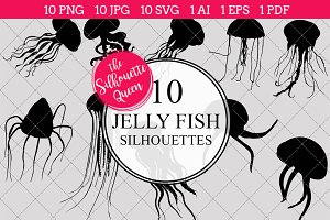 Jellyfish Silhouette Clipart Vector