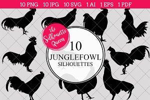 Junglefowl Silhouette Clipart Vector