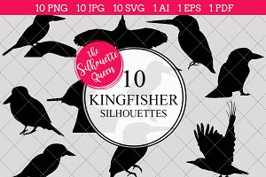 Kingfisher Silhouette Clipart Vector