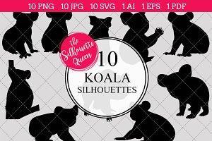 Koala Bear Silhouette Clipart Vector