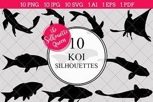 Koi Fish Silhouette Vector