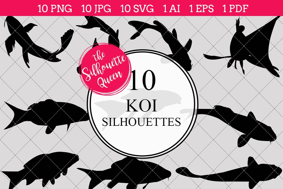 Koi Fish Silhouette Vector Graphic Objects Creative Market