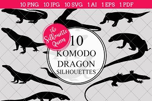 Komodo dragon Silhouette Vector
