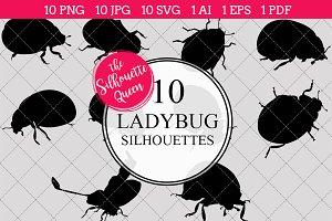 Ladybug Silhouette Clipart Vector