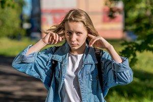 Girl schoolgirl teenager, in summer