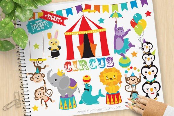 Animal Circus - Vector Clipart
