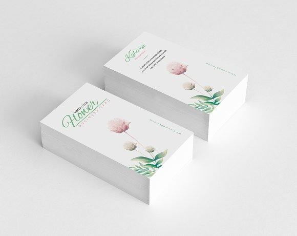 Clean floral business card business card templates creative daddy wajeb Images