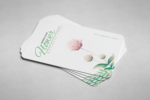 Clean floral business card business card templates creative daddy wajeb Image collections